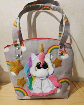Licorne sur sac en tissus